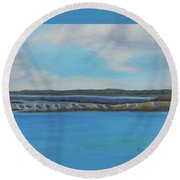 Birds Of Crescent Beach Round Beach Towel