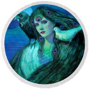 Birds Of Duality Fantasy Art Round Beach Towel