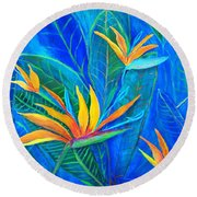 Birds Of Paradise In Florida Round Beach Towel