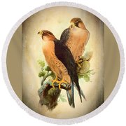 Round Beach Towel featuring the mixed media Birds Of Prey 1 by Charmaine Zoe