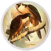 Round Beach Towel featuring the mixed media Birds Of Prey 2 by Charmaine Zoe