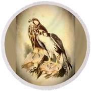 Round Beach Towel featuring the mixed media Birds Of Prey 3 by Charmaine Zoe