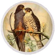 Round Beach Towel featuring the mixed media Birds Of Prey 4 by Charmaine Zoe