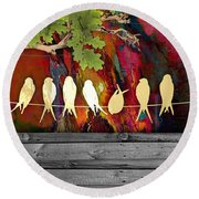 Birds On A Wire Collection Round Beach Towel