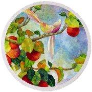 Birds On Apple Tree Round Beach Towel