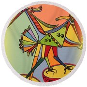 Birds On A Space Mission Round Beach Towel