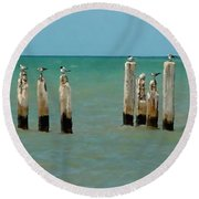 Round Beach Towel featuring the painting Birds On Sticks by David  Van Hulst