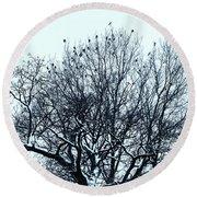 Birds On The Tree Monochrome Round Beach Towel