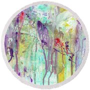 Birds On The Wire - Colorful Bright Modern Abstract Art Painting Round Beach Towel