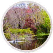 Round Beach Towel featuring the photograph Birds Playing In The Pond 3 by Madeline Ellis