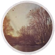 Round Beach Towel featuring the photograph Birds Take Flight Over Lake On A Winters Morning by Lyn Randle