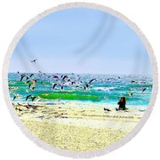 Round Beach Towel featuring the photograph Birds Taking Off by Ellen O'Reilly