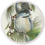 Birds Two And Fir Tree Round Beach Towel