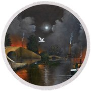 Round Beach Towel featuring the painting Birmingham And Liverpool Junction by Ken Wood
