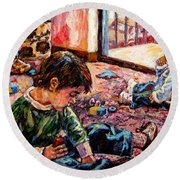 Round Beach Towel featuring the painting Birthday Party Or A Childs View by Kendall Kessler