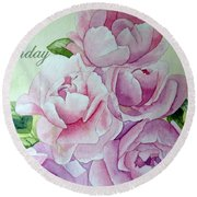 Round Beach Towel featuring the painting Birthday Peonies by Laurel Best