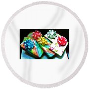 Round Beach Towel featuring the photograph Birthday Presents by Denise Fulmer