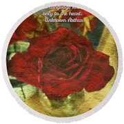 Birthday Roses With Poem  Round Beach Towel