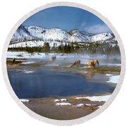Biscuit Basin Elk Herd Round Beach Towel by Ed  Riche