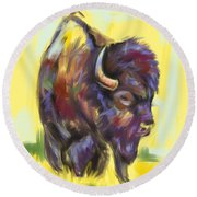 Round Beach Towel featuring the painting Bison And Bird by Go Van Kampen