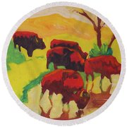 Bison Art Bison Crossing Stream Yellow Hill Painting Bertram Poole Round Beach Towel by Thomas Bertram POOLE