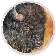 Bison Round Beach Towel by David Stribbling