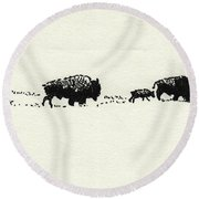 Bison Family Round Beach Towel