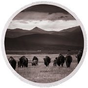 Round Beach Towel featuring the photograph Bison Herd Into The Sunset - Bw by Chris Bordeleau