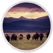 Round Beach Towel featuring the photograph Bison Herd Into The Sunset by Chris Bordeleau