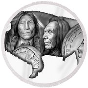 Bison Indian Montage 2 Round Beach Towel