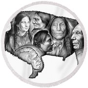 Bison Indian Montage Round Beach Towel