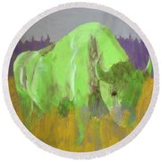 Bison On The American Plains Round Beach Towel