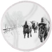 Bison On The Run Round Beach Towel