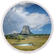 Bison Pond Round Beach Towel