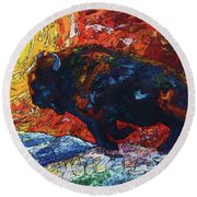 Bison Running Print Of Olena Art Wild The Storm Oil Painting With Palette Knife  Round Beach Towel