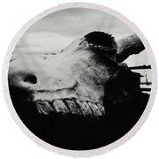 Bison Skull Black White Round Beach Towel