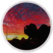 Bison Sunset Round Beach Towel by Larry Trupp