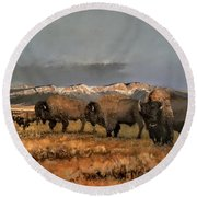 Bisons Of The Front Range Round Beach Towel