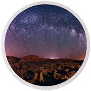 Bisti Badlands Night Sky - 2 Round Beach Towel