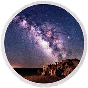 Bisti Badlands Night Sky Round Beach Towel