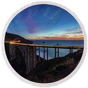 Bixby Bridge Sunset Round Beach Towel