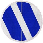 Blue And White Abstract Round Beach Towel by Tom Janca