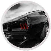 Black 1967 Mustang Round Beach Towel