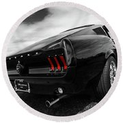 Black 1967 Mustang Round Beach Towel