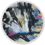 Black Abstract Round Beach Towel