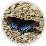 Black And Blue Monarch Butterfly Round Beach Towel