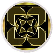 Black And Gold 13 - Chuck Staley Round Beach Towel by Chuck Staley