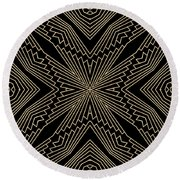 Black And Gold Art Deco Filigree 003 Round Beach Towel