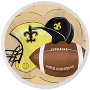 Black And Gold Champs Round Beach Towel