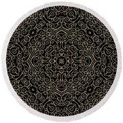 Black And Gold Filigree 002 Round Beach Towel
